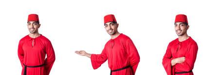 Mann in traditionellem türkischem Hut und Kleid