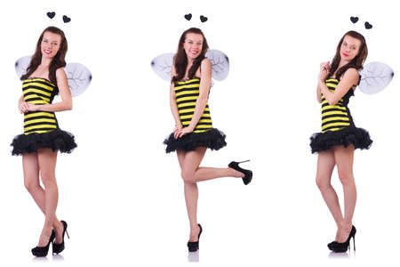 Young woman in bee costume isolated on white Stockfoto