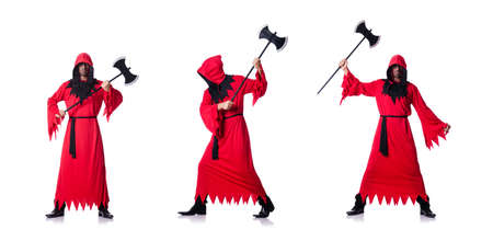 Executioner in red costume with axe on white 스톡 콘텐츠
