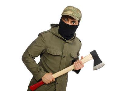 Criminal wearing mask isolated on white