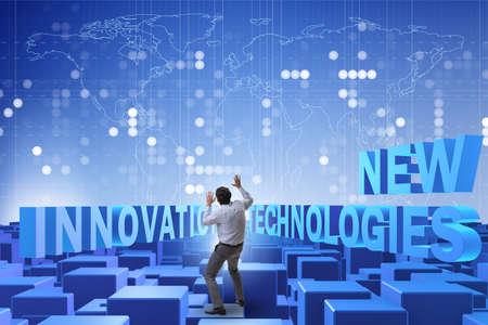 Businessman in new technologies concept Banco de Imagens