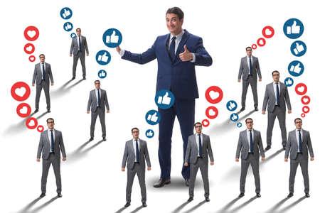 Concepto de redes sociales con empresarios. Foto de archivo