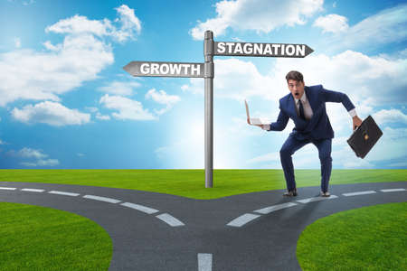 Concept of choice between growth and stagnation Stock fotó