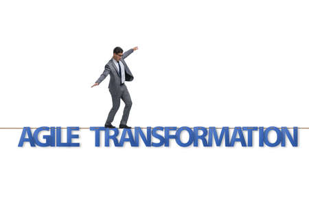 Agile transformation concept with businessman walking on tight rope