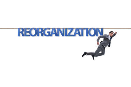 Reorganisation concept with businessman walking on tight rope