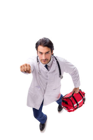 Young male doctor paramedic isolated on white Stockfoto - 123066701