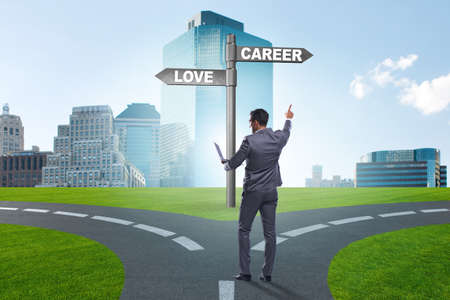 Businessman having hard choice between love and career
