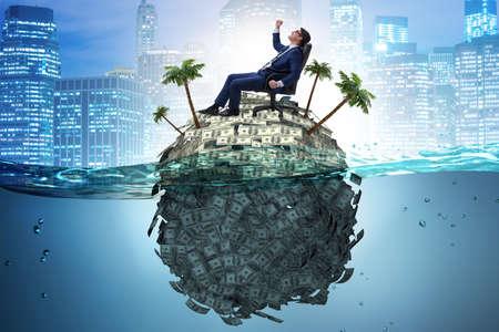 Offshore-Kontenkonzept mit Geschäftsmann Standard-Bild