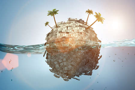 Offshore accounts concept - 3d rendering