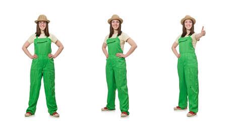 Mujer en uniforme verde aislado en blanco