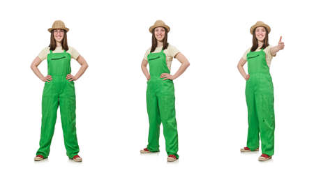 Woman in green uniform isolated on white