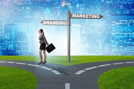 Branding and marketing concept with businesswoman Stock Photo - 123326857