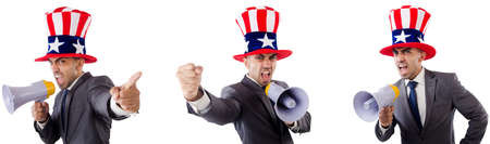 Man with american hat with megaphone
