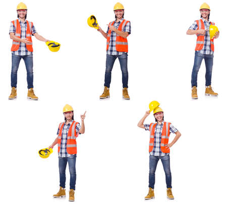 Industrial worker isolated on white Stock Photo