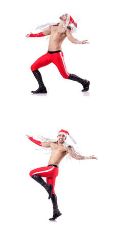 Dancing santa isolated on white