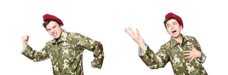 Funny soldier in military concept Stock Photo