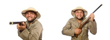 Safari hunter isolated on white Standard-Bild
