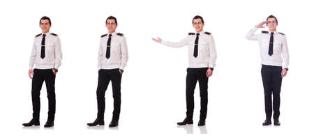 Young pilot isolated on the white Stockfoto