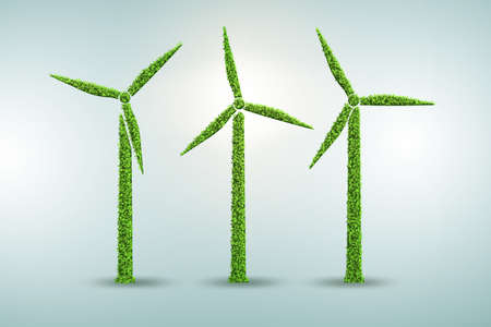 Windmills in ecological power generation and production concept - 3d rendering Foto de archivo - 124876464