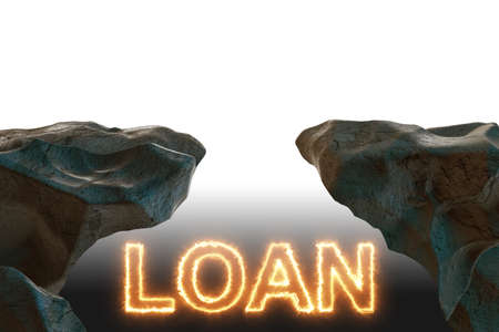 Debt and loan concept with burning letters - 3d rendering Stockfoto