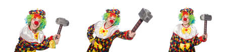 Clown with hammer isolated on white Stock Photo