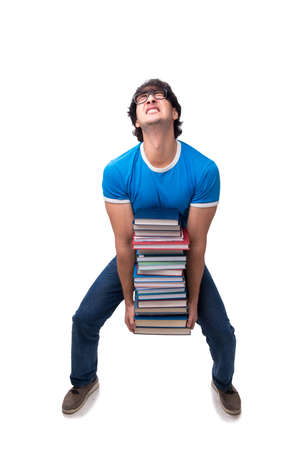 Male student with many books isolated on white Stock fotó