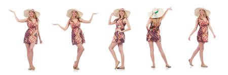 Beautiful dancing woman in summer dress  handing hands  isolated
