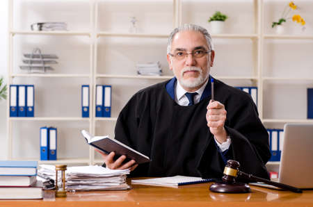 Aged lawyer working in the courthouse Stock fotó