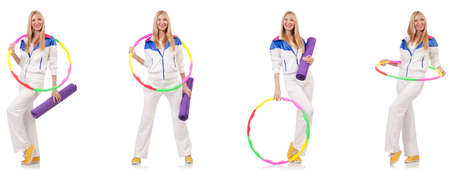 Beautiful woman with hula hoop isolated on white