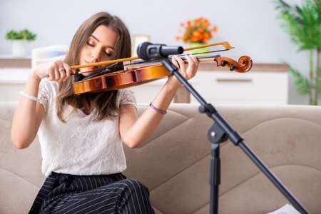 Female beautiful musician playing violin at home Stok Fotoğraf