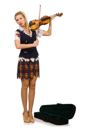 Woman violin player isolated on white Stock Photo