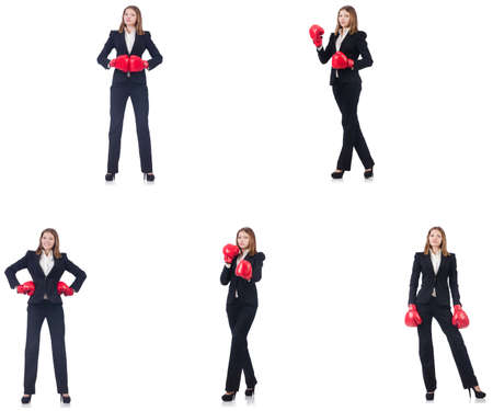 Businesswoman with boxing gloves isolated on white Stock Photo