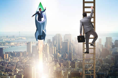 Competition concept with businessman on rocket