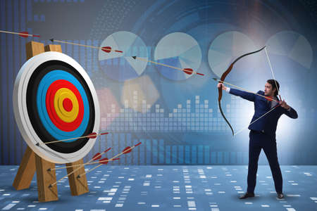 Businessman aiming arrow with bow