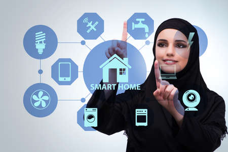Smart home concept with woman