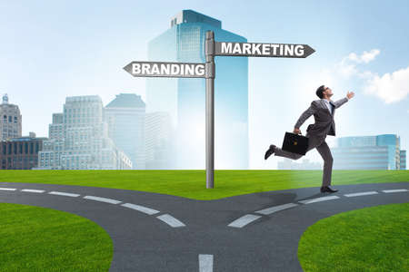 Branding and marketing concept with businessman
