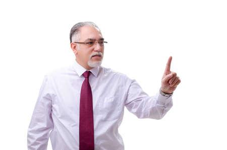 Aged businessman employee isolated on white Stock Photo