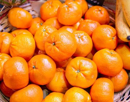 Citrus fruits at the market display stall