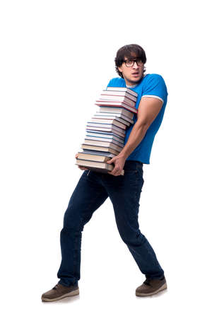 Male student with many books isolated on white