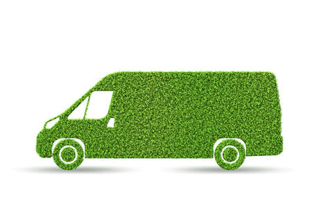 Green low emission electic vehicle concept - 3d rendering