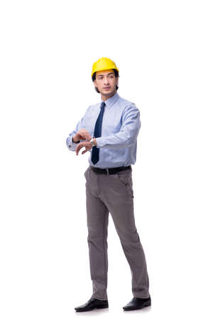 Young male architect isolated on white Banque d'images