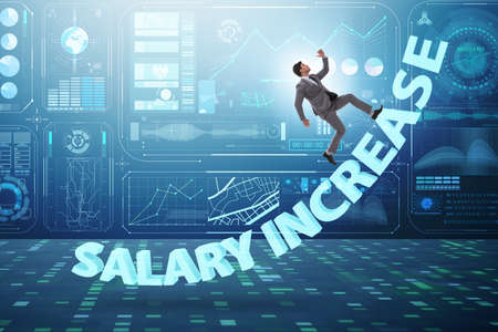 Employee in salary increase concept