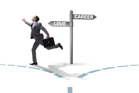Businessman having hard choice between love and career Stock Photo - 124631677