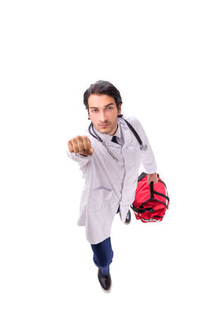 Young male doctor paramedic isolated on white