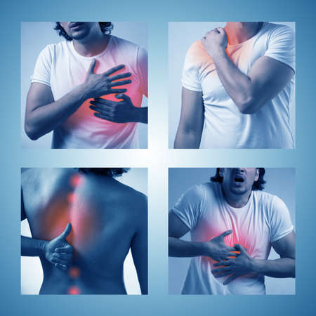Collage of man suffering from acute pain Stock Photo - 124544169