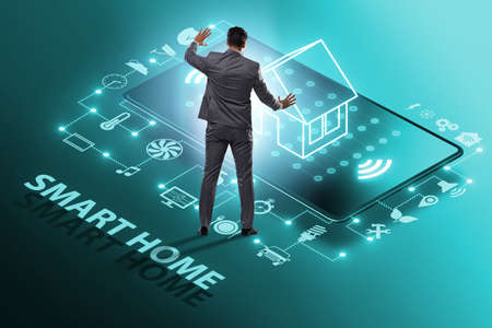 Smart home concept with devices and appliances Imagens - 124632101