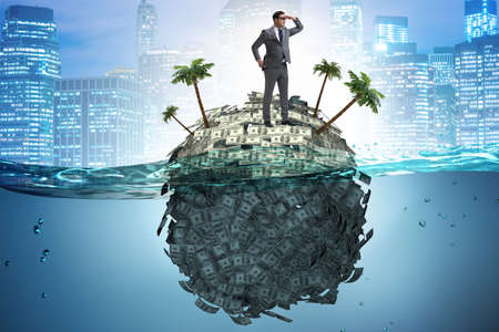 Concept de comptes offshore avec homme d'affaires Banque d'images