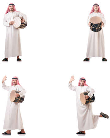 Arab man with drum isolated on white