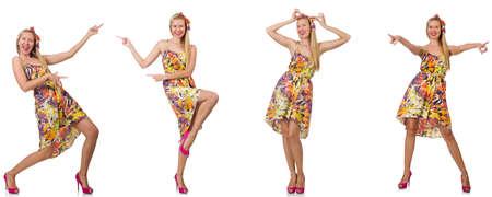 Collage der Frau im modischen Look isoliert auf weiß
