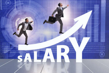 Concept of increasing salary with businessman 写真素材